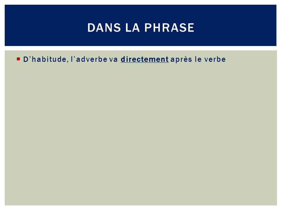 Dans la phrase D'habitude, l'adverbe va directement après le verbe