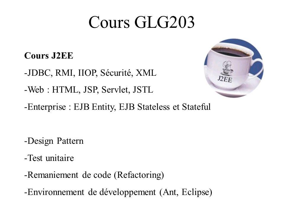 Cours GLG203 Cours J2EE JDBC, RMI, IIOP, Sécurité, XML
