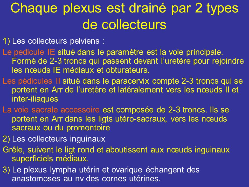 Chaque plexus est drainé par 2 types de collecteurs
