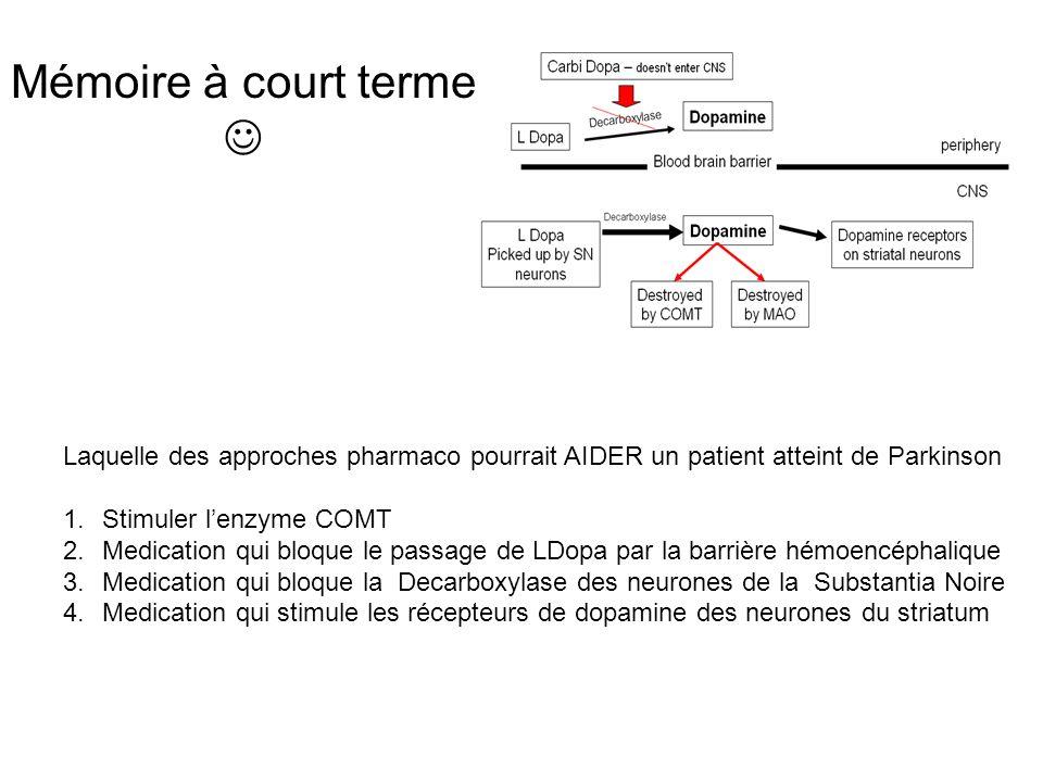 Mémoire à court terme  Laquelle des approches pharmaco pourrait AIDER un patient atteint de Parkinson.