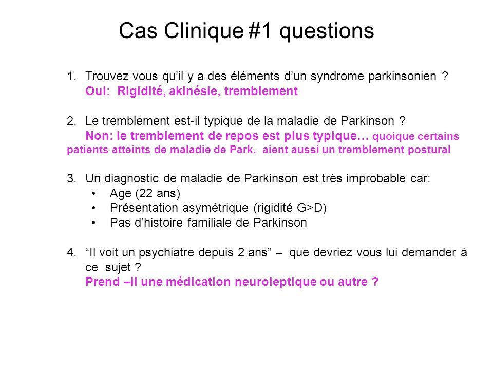 Cas Clinique #1 questions