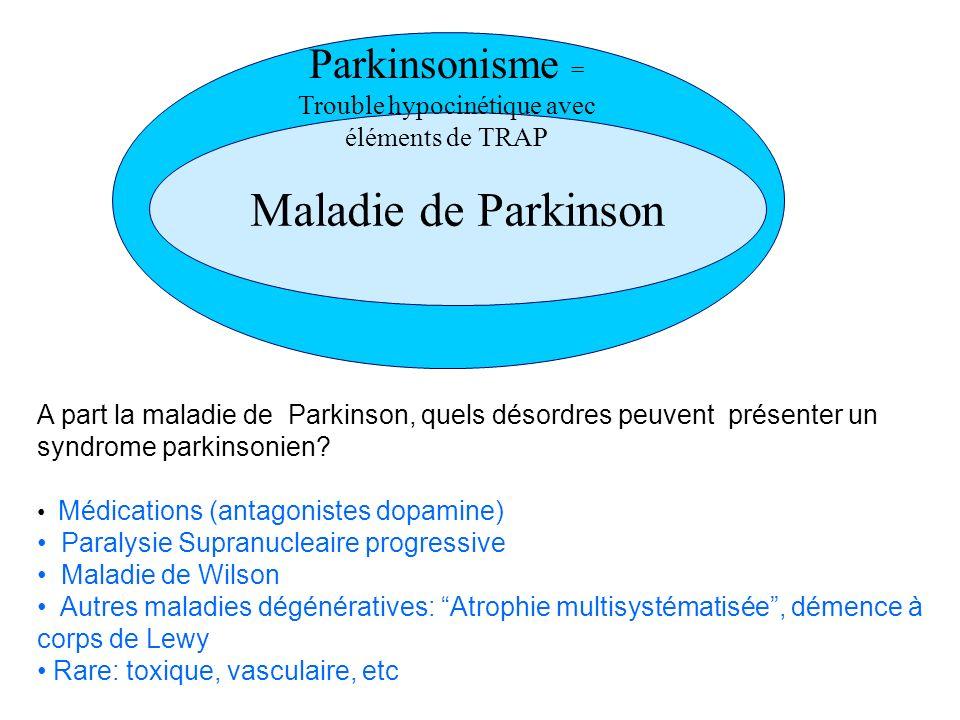Parkinsonisme = Trouble hypocinétique avec éléments de TRAP