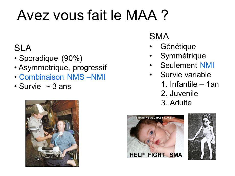 Avez vous fait le MAA SMA SLA Génétique Symmétrique Seulement NMI