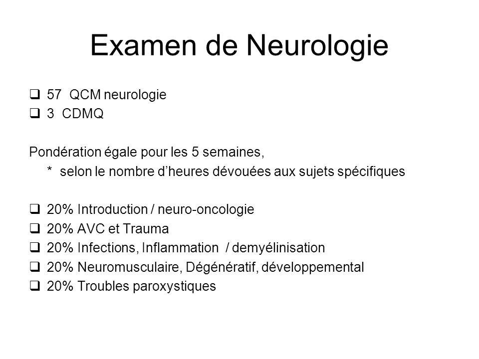 Examen de Neurologie 57 QCM neurologie 3 CDMQ