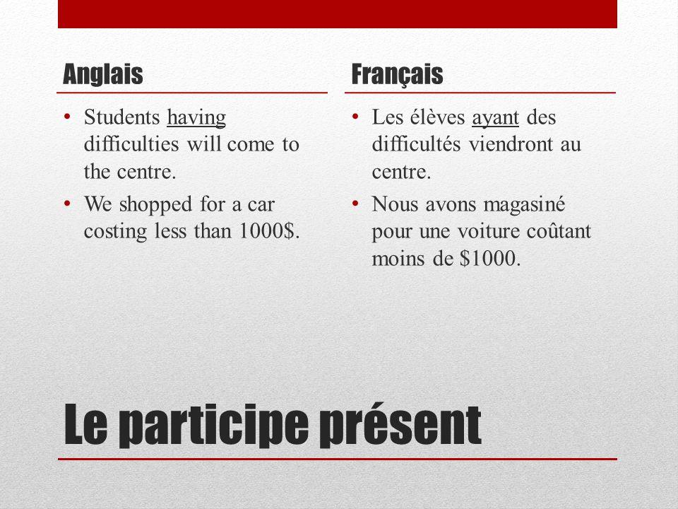 Le participe présent Anglais Français