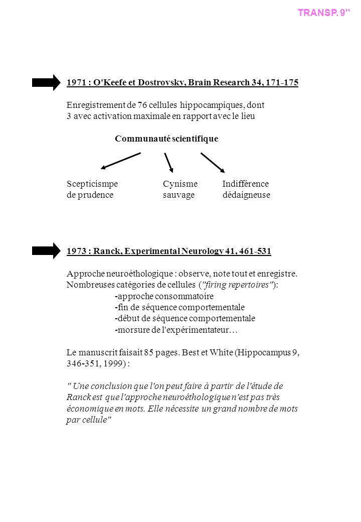 TRANSP. 9 1971 : O Keefe et Dostrovsky, Brain Research 34, 171-175. Enregistrement de 76 cellules hippocampiques, dont.