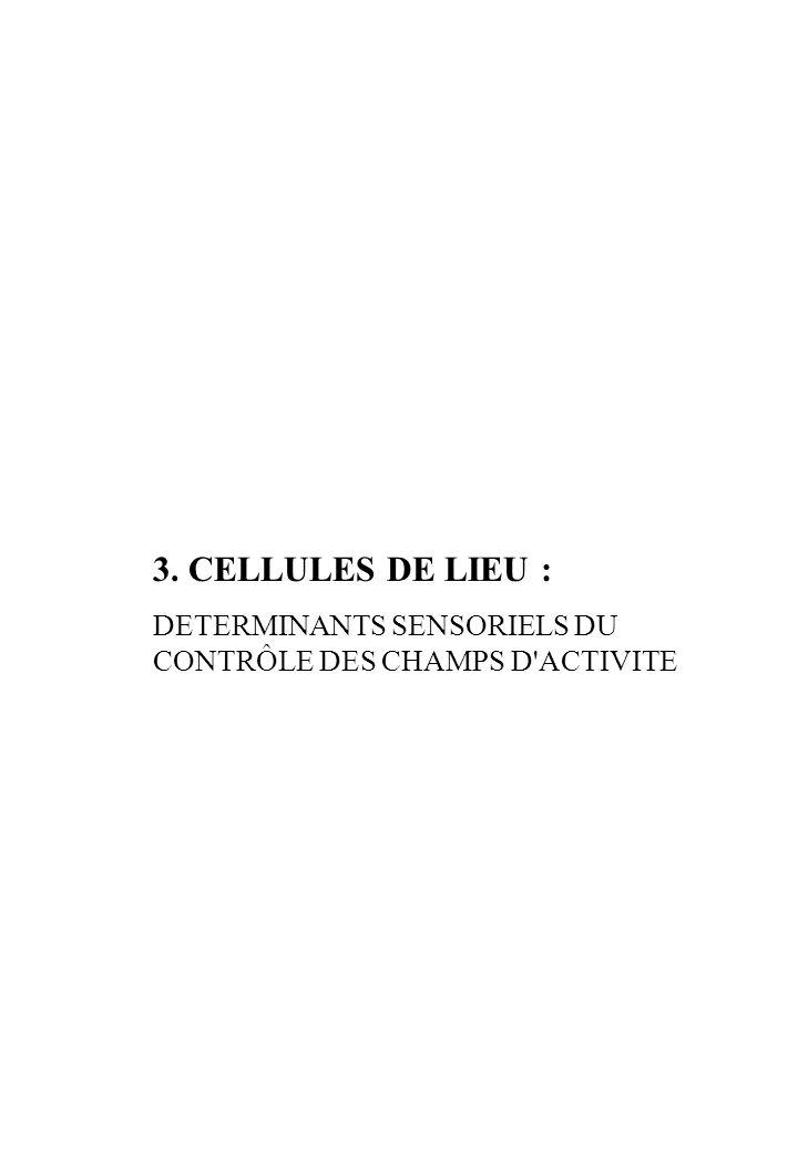 3. CELLULES DE LIEU : DETERMINANTS SENSORIELS DU CONTRÔLE DES CHAMPS D ACTIVITE
