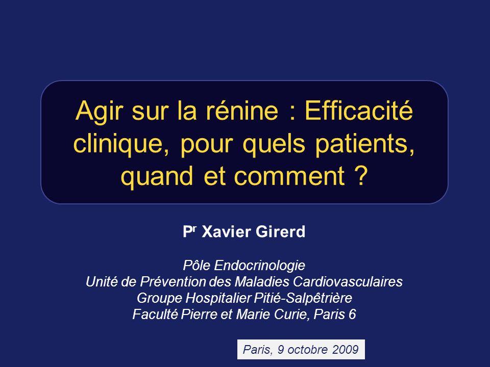Agir sur la rénine : Efficacité clinique, pour quels patients, quand et comment