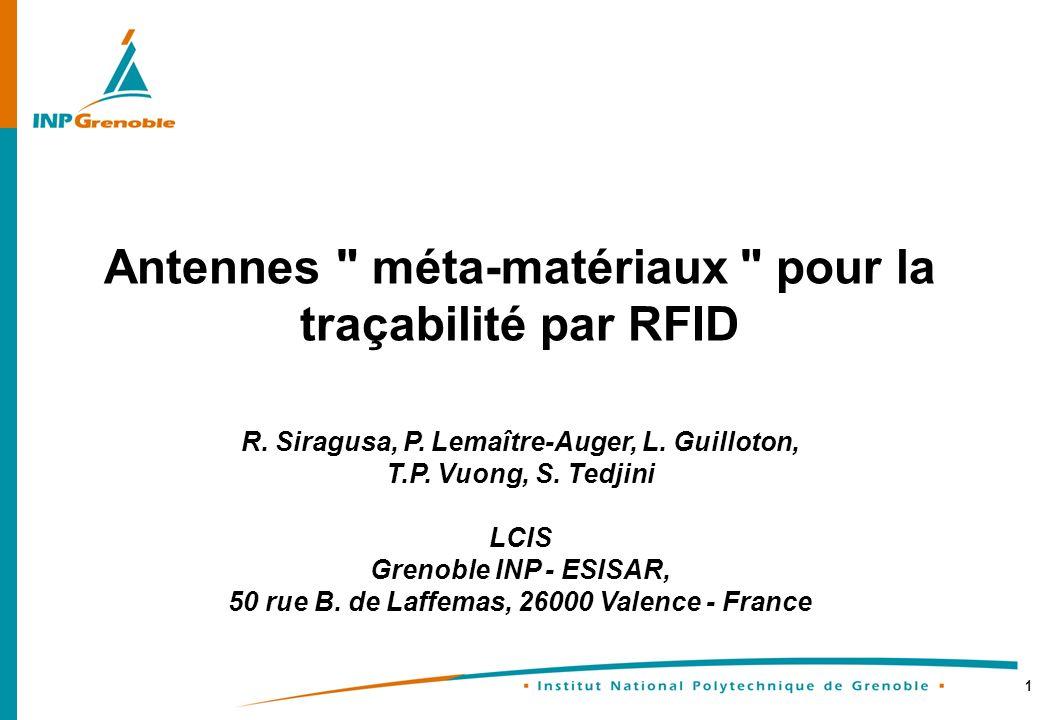 Antennes méta-matériaux pour la traçabilité par RFID