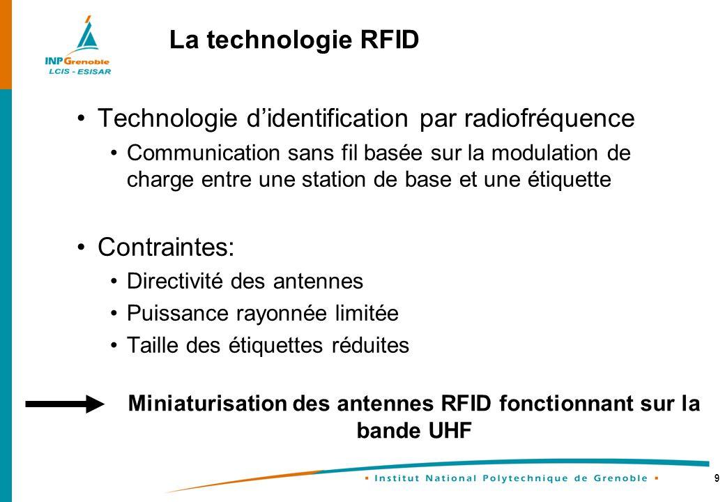 Miniaturisation des antennes RFID fonctionnant sur la bande UHF