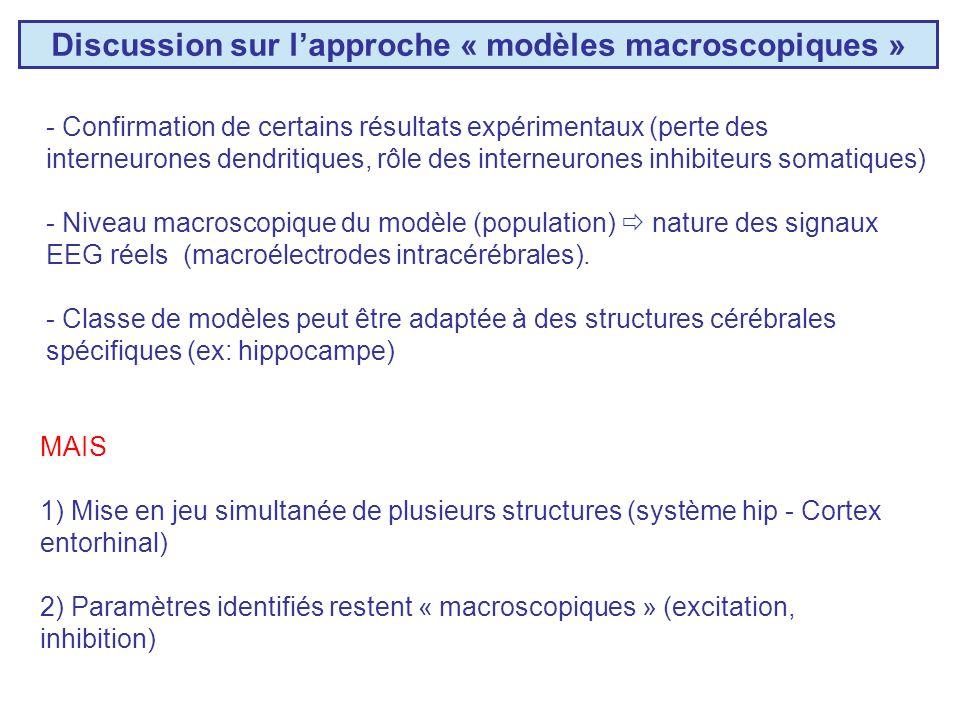 Discussion sur l'approche « modèles macroscopiques »