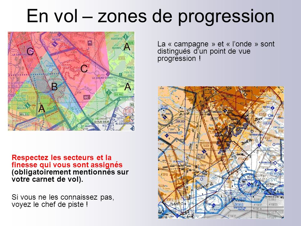 En vol – zones de progression
