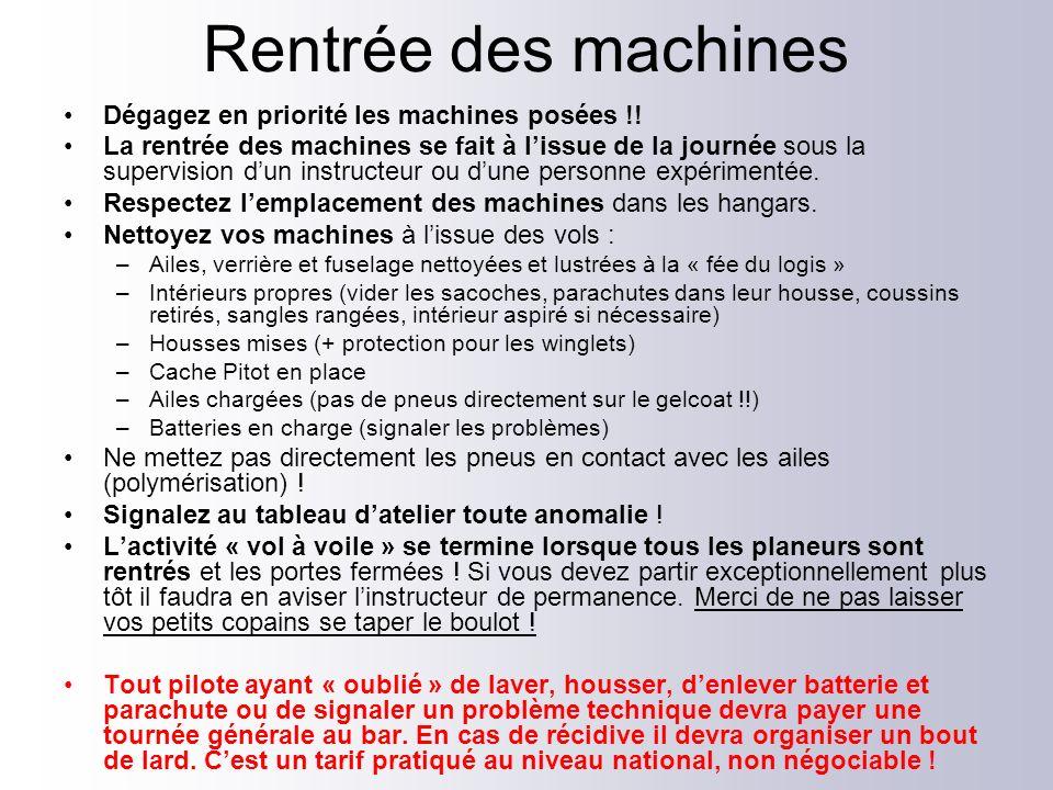 Rentrée des machines Dégagez en priorité les machines posées !!