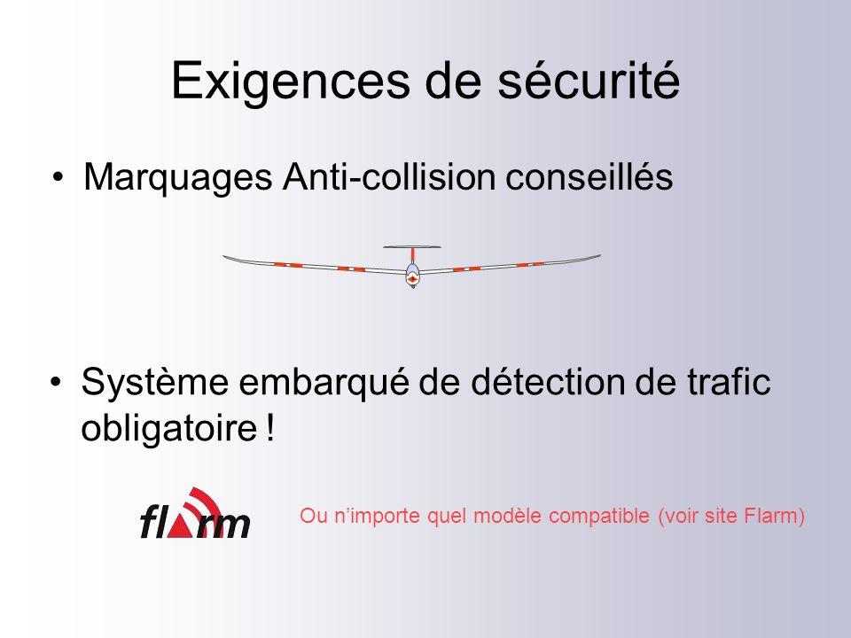 Exigences de sécurité Marquages Anti-collision conseillés