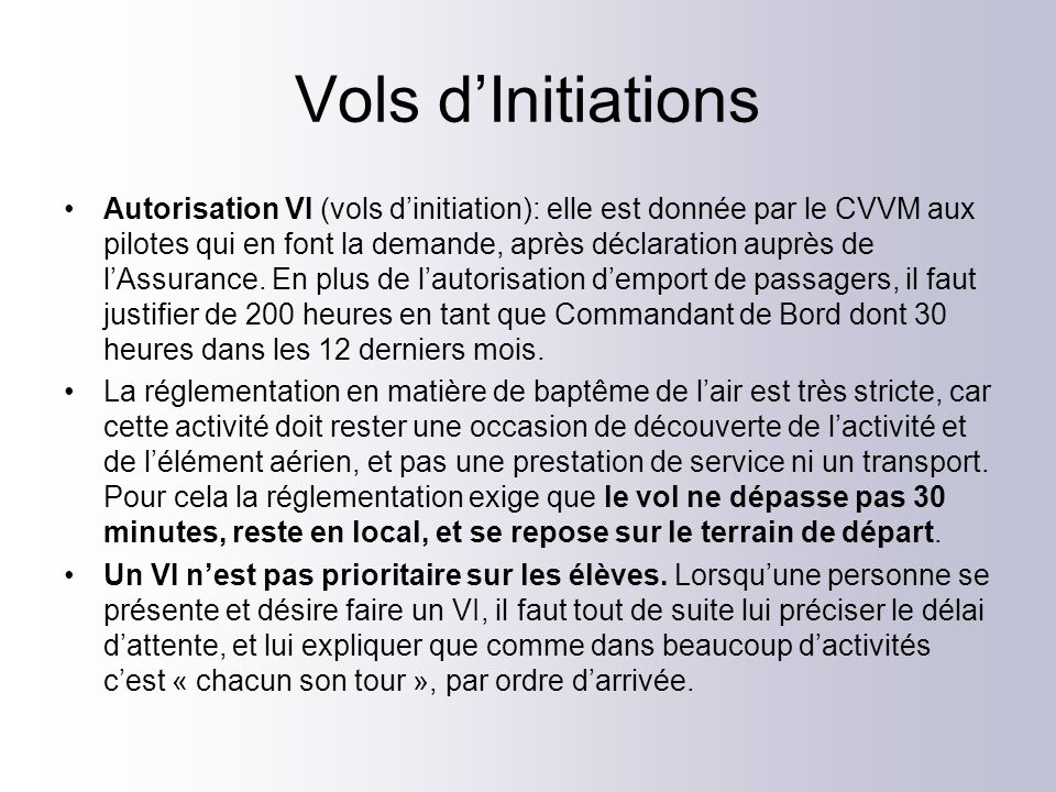 Vols d'Initiations
