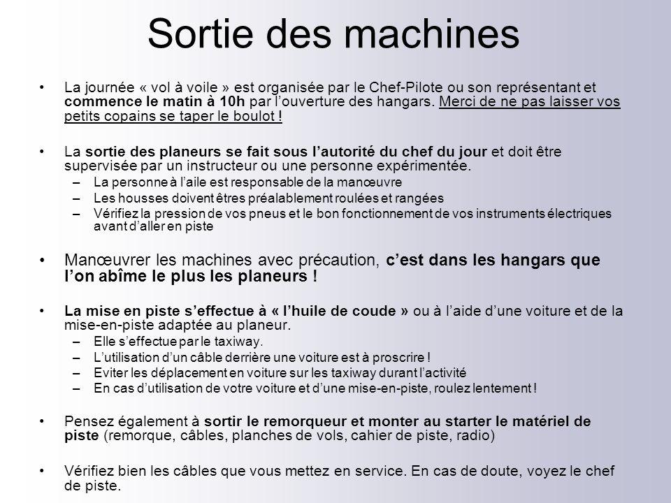 Sortie des machines