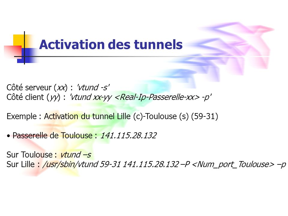 Activation des tunnels