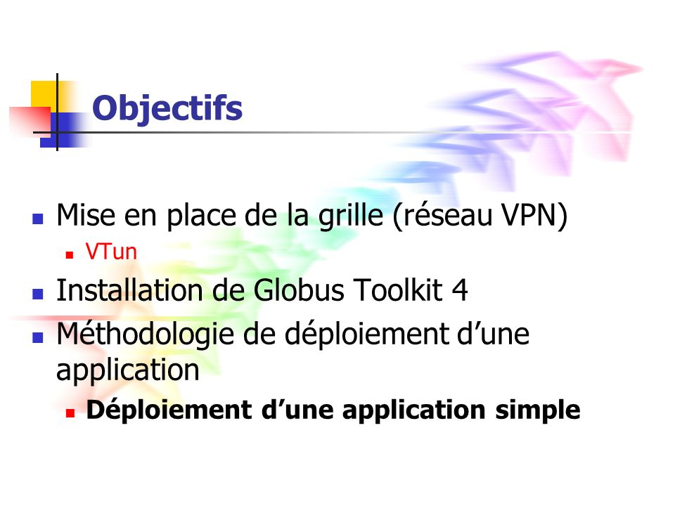 Objectifs Mise en place de la grille (réseau VPN)