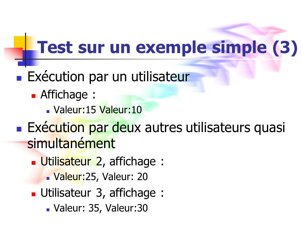 Test sur un exemple simple (3)
