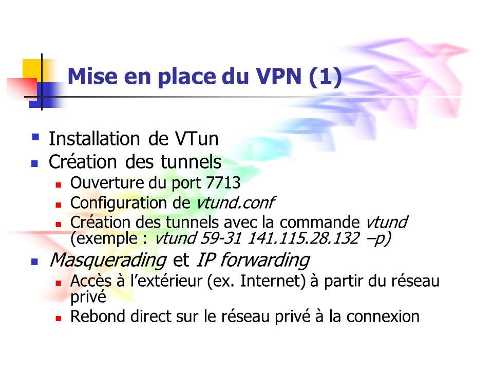 Mise en place du VPN (1) Installation de VTun Création des tunnels
