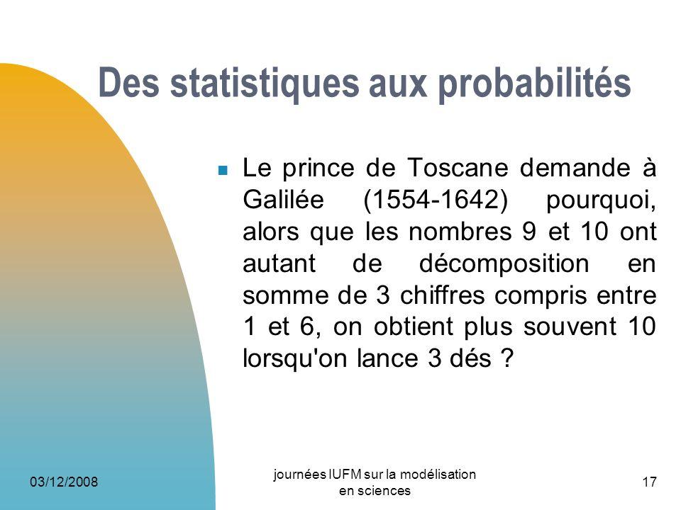 Des statistiques aux probabilités