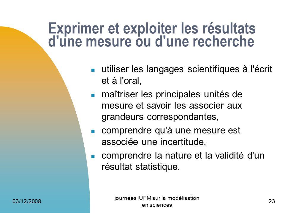 Exprimer et exploiter les résultats d une mesure ou d une recherche