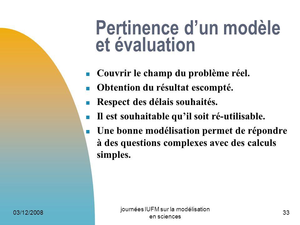 Pertinence d'un modèle et évaluation