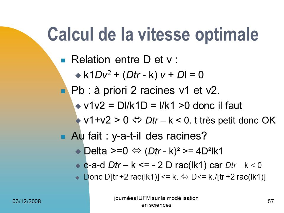 Calcul de la vitesse optimale