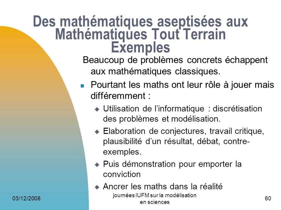 Des mathématiques aseptisées aux Mathématiques Tout Terrain Exemples