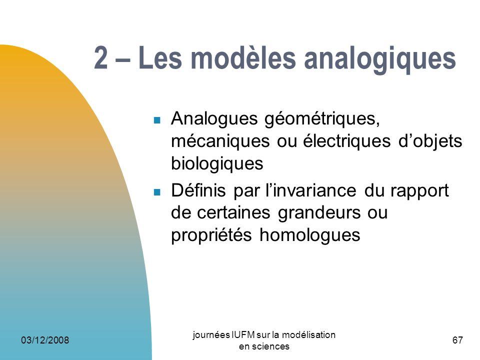 2 – Les modèles analogiques
