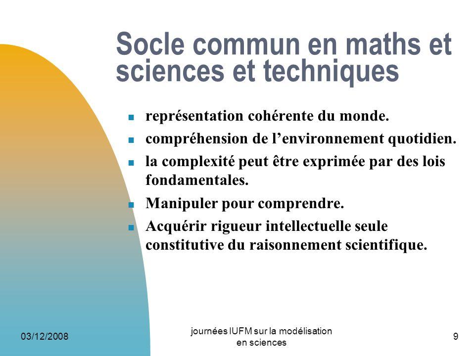 Socle commun en maths et sciences et techniques