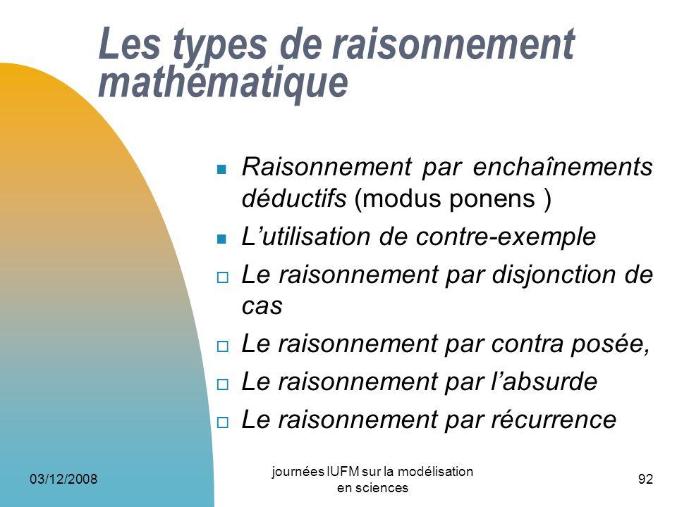 Les types de raisonnement mathématique