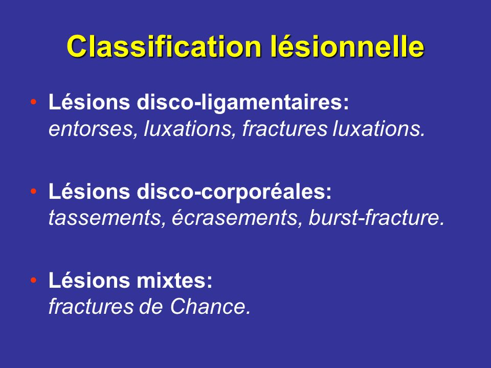 Classification lésionnelle