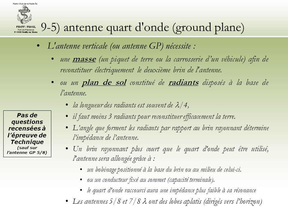 9-5) antenne quart d onde (ground plane)