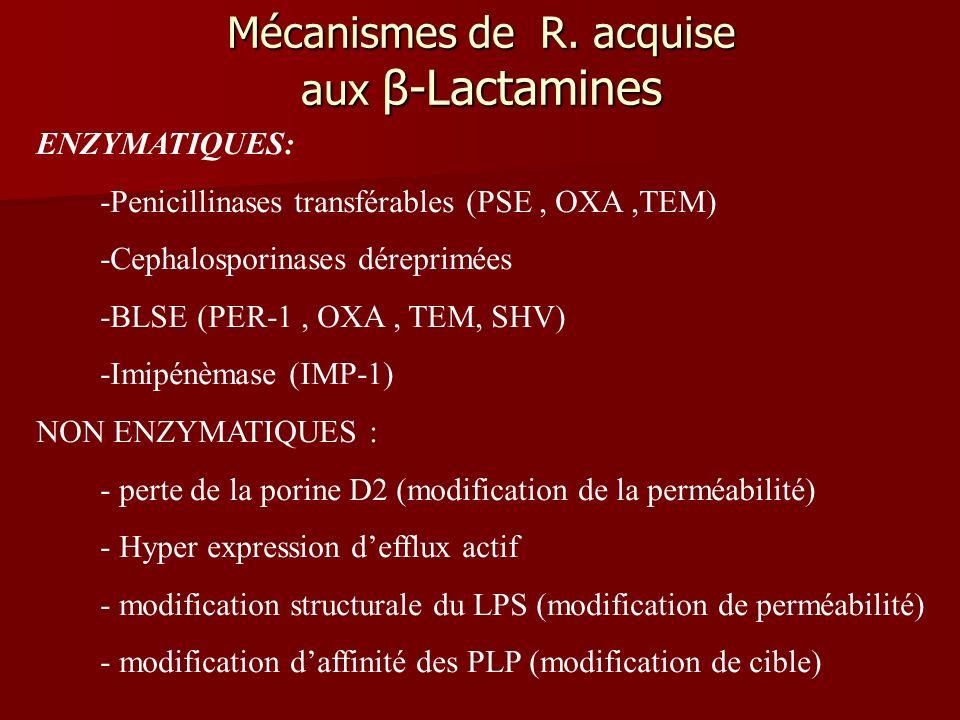 Mécanismes de R. acquise aux β-Lactamines
