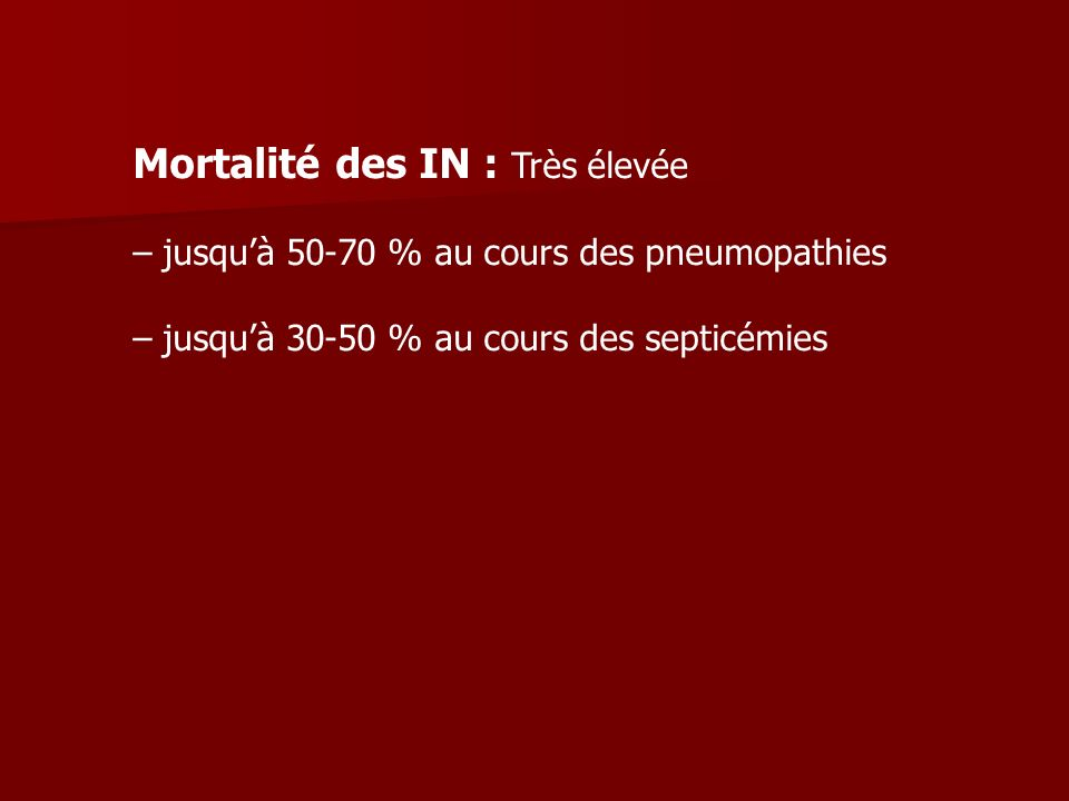 Mortalité des IN : Très élevée