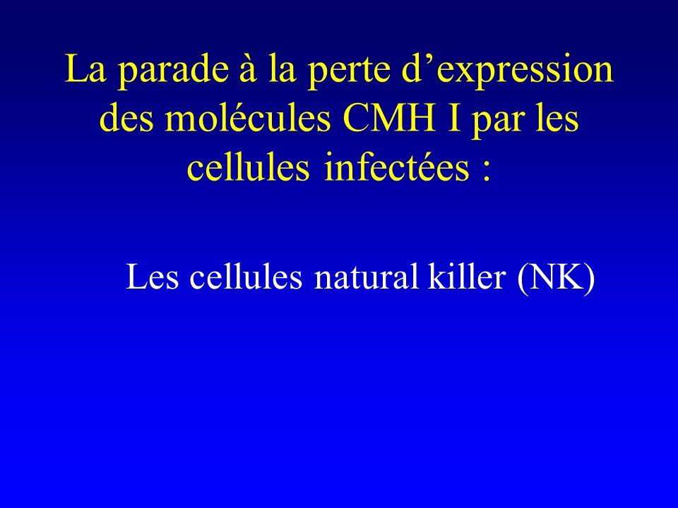 La parade à la perte d'expression des molécules CMH I par les cellules infectées :