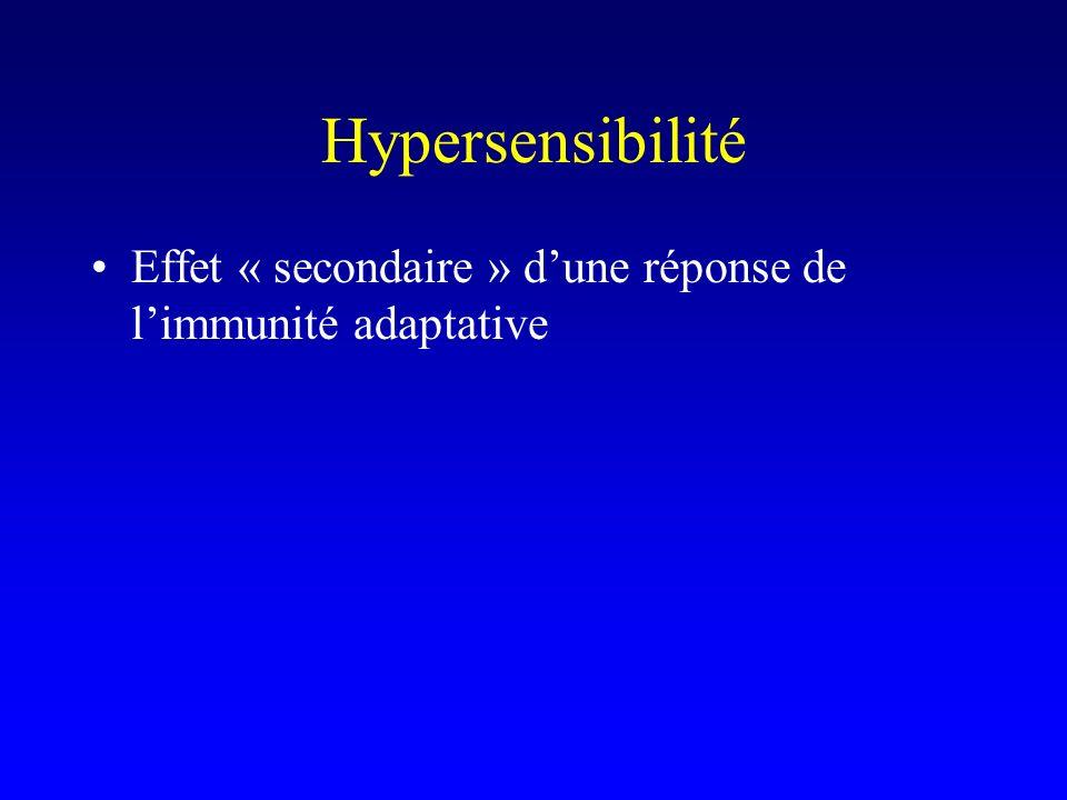 Hypersensibilité Effet « secondaire » d'une réponse de l'immunité adaptative