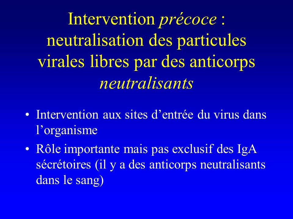 Intervention précoce : neutralisation des particules virales libres par des anticorps neutralisants