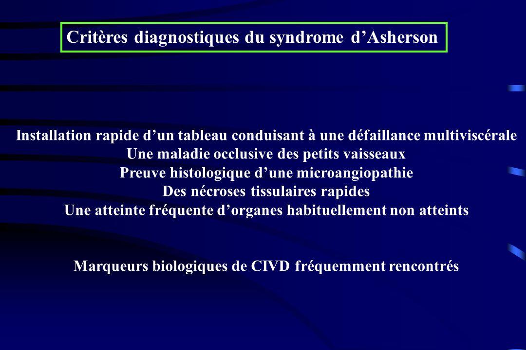 Critères diagnostiques du syndrome d'Asherson