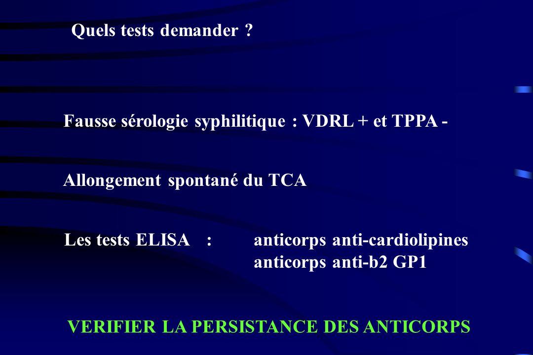 Quels tests demander Fausse sérologie syphilitique : VDRL + et TPPA - Allongement spontané du TCA.