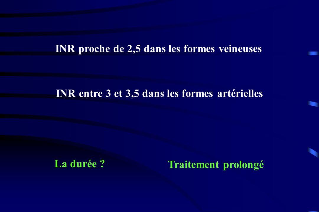 INR proche de 2,5 dans les formes veineuses