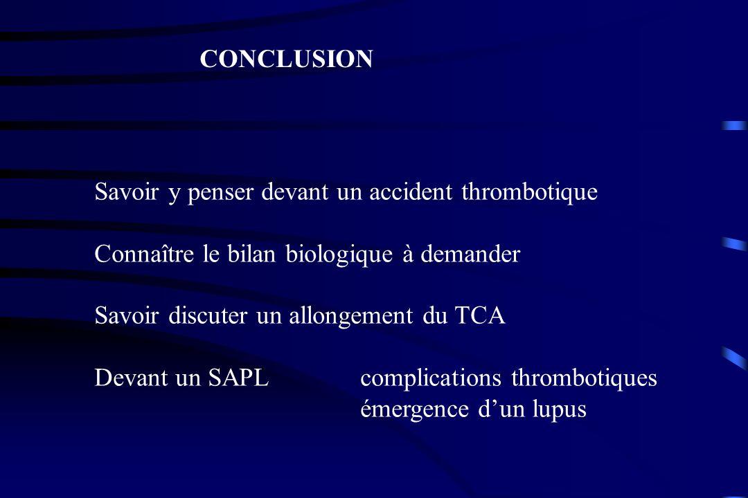 CONCLUSION Savoir y penser devant un accident thrombotique. Connaître le bilan biologique à demander.