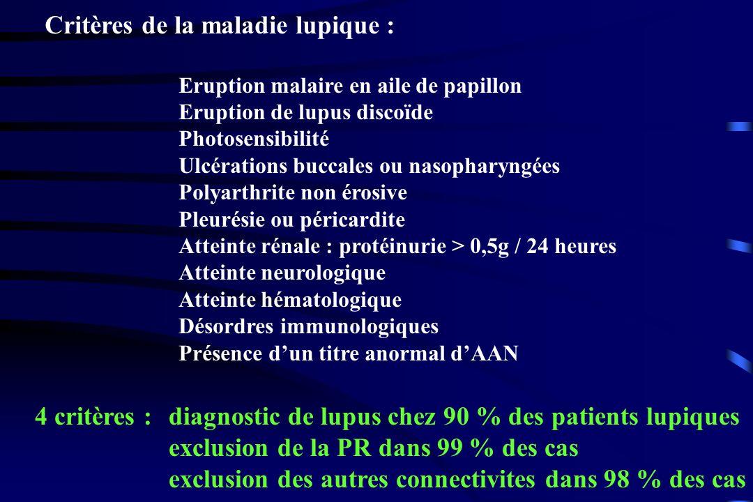 Critères de la maladie lupique :