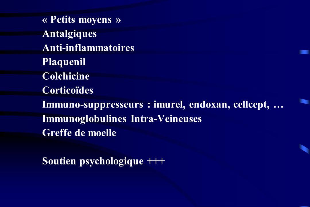 « Petits moyens » Antalgiques. Anti-inflammatoires. Plaquenil. Colchicine. Corticoïdes. Immuno-suppresseurs : imurel, endoxan, cellcept, …