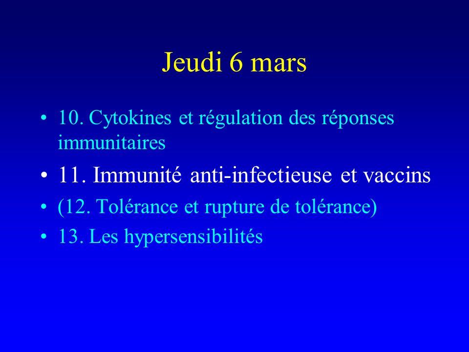 Jeudi 6 mars 11. Immunité anti-infectieuse et vaccins