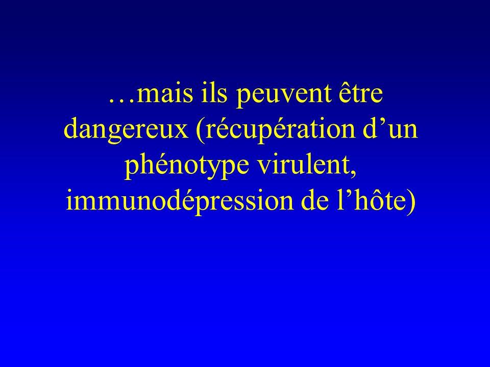 …mais ils peuvent être dangereux (récupération d'un phénotype virulent, immunodépression de l'hôte)