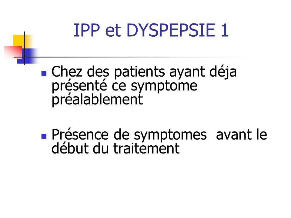 IPP et DYSPEPSIE 1 Chez des patients ayant déja présenté ce symptome préalablement.