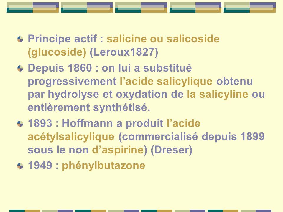 Principe actif : salicine ou salicoside (glucoside) (Leroux1827)