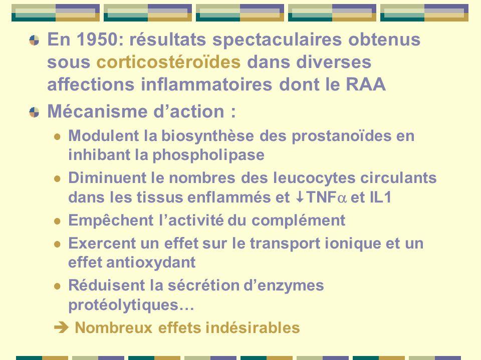 En 1950: résultats spectaculaires obtenus sous corticostéroïdes dans diverses affections inflammatoires dont le RAA